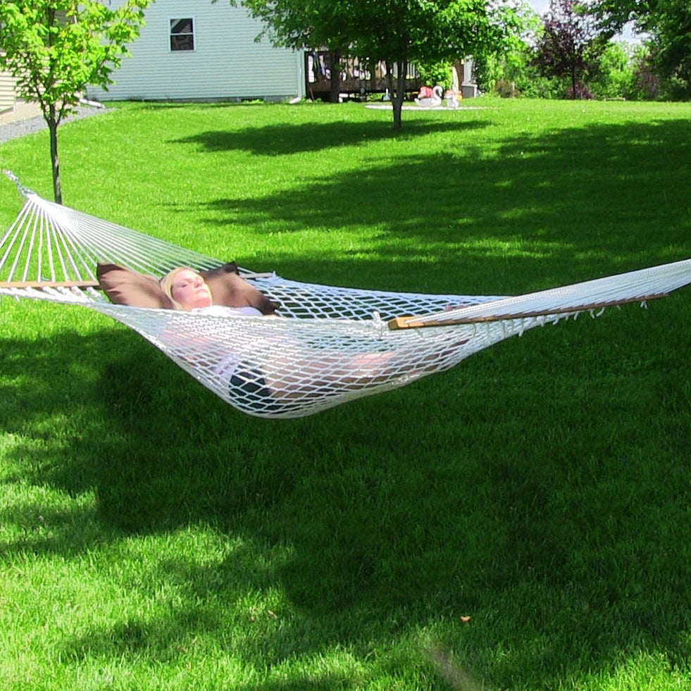 Sunnydaze 2-Person Polyester Rope Hammock with Spreader Bars and Pillow - Hammock Stand Included - Thumbnail 0