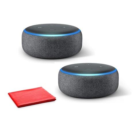 Amazon Echo Dot (3rd Generation, Charcoal) 2 Pack Bundle
