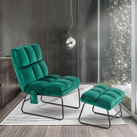 Mcombo Modern Cushioned Velvet Accent Chair with Ottoman