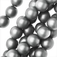 Czech Glass, Round Druk Beads 8mm, 20 Pieces, Matte Metallic Silver