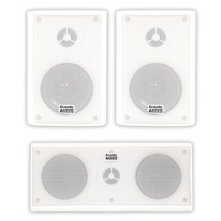 Acoustic Audio AA351W and AA35CW Indoor Speakers Home Theater 3 Speaker Set