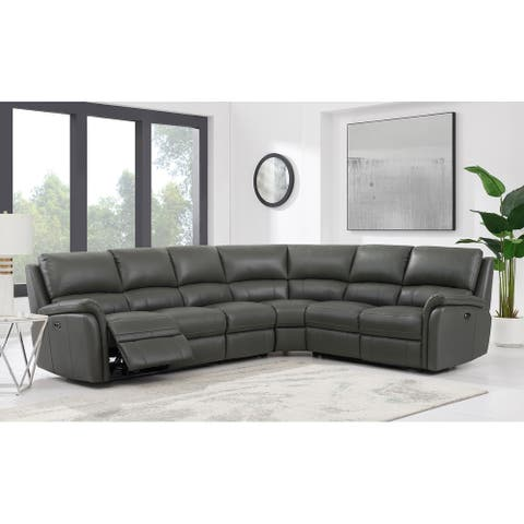 Hydeline Erindale Leather Power Reclining Sectional Sofa with USB-Ports