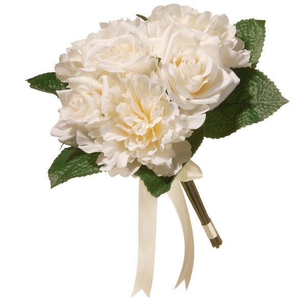 """12.2"""" Mixed Cream Rose and Peony Bouquet - N/A"""