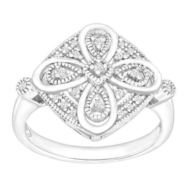 1/10 ct Diamond Filigree Ring in Sterling Silver