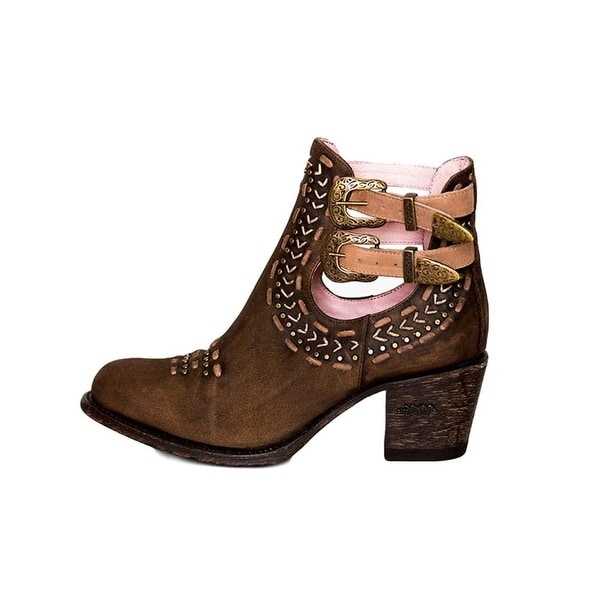 Miss Macie Fashion Boots Womens Geez Louise Buckles Chocolate