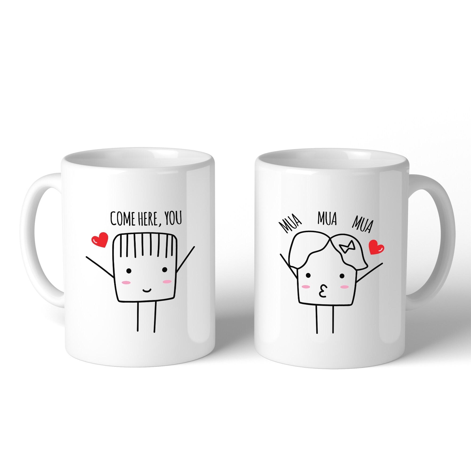 Shop Come Here Mua Mua Mua White Matching Couple Mugs Cute Wedding