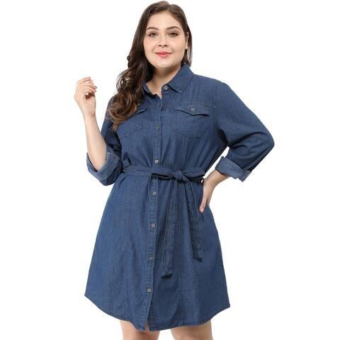 Women's Plus Size Long Sleeves Belted Above Knee Denim Shirt Dress - Blue