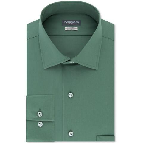 """Van Heusen Mens Wrinkle Free Button Up Dress Shirt, Green, 17.5"""" Neck 32""""-33"""" Sleeve"""