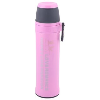 Stainless Steel Cylindrical Heat Resistant Water Bottle Vacuum Cup Pink 550ml