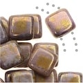 CzechMates Glass 2-Hole Square Tile Beads 6mm Opaque Gold / Smokey Topaz Luster (1 Strand) - Thumbnail 0