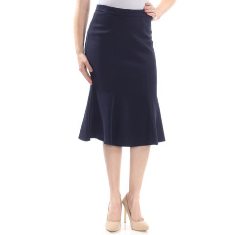 ST JOHN Womens Navy Midi A-Line Wear To Work Skirt Size: 14