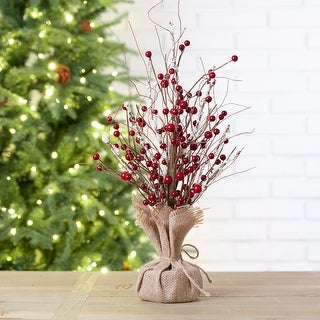 """Glitzhome 16""""H Christmas Red Berry Table Tree Decor"""