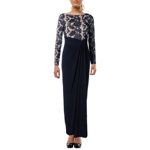 Lauren Ralph Lauren Womens Petites Iolana Evening Dress Sequined Floral