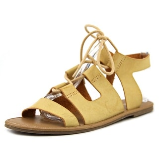 Mia Delphine Women Open Toe Synthetic Tan Gladiator Sandal
