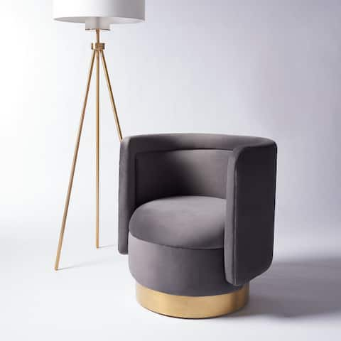 """SAFAVIEH Couture Brynlee Swivel Accent Chair - 29.7"""" W x 27.2"""" L x 29.7"""" H"""