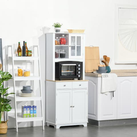 """HOMCOM 67"""" Kitchen Buffet with Hutch, Pantry with Framed Doors, 2 Drawers, and Open Microwave Countertop - 26.75""""x 15.5"""" x 67"""""""