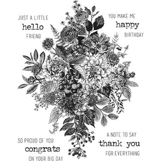 """Tim Holtz Cling Stamps 7""""X8.5""""-Glorious Bouquet W/Grid Block"""