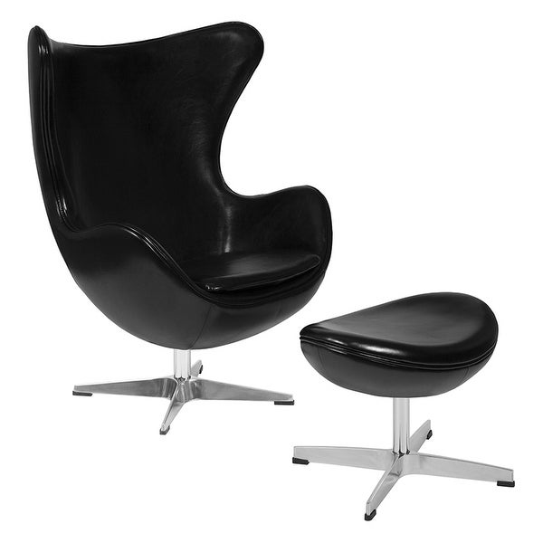 Offex Black Leather Egg Chair with Tilt-Lock Mechanism and Ottoman