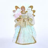 "12"" Gold and Ivory Christmas Decorative Angel Lighted Tree Topper"