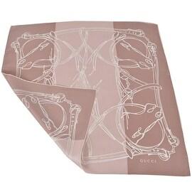 Gucci Women's 323144 Nude Beige Equestrian Print Horsebit Chain Scarf