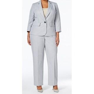 Le Suit NEW Gray Women's Size 24W Plus Pinstripe Pant Suit Set