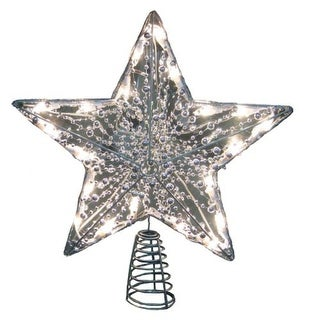 "15.5"" Lighted and Beaded Silver Star Christmas Tree Topper - Clear Lights"