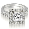 1.21 cttw. 14K White Gold Princess And Round Cut Halo Diamond Bridal Set - Thumbnail 0