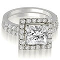 1.46 cttw. 14K White Gold Princess And Round Cut Halo Diamond Bridal Set - Thumbnail 0