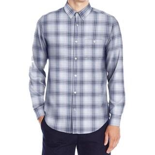 Calvin Klein NEW Blue Mens Size Large L Plaid Button Down Shirt