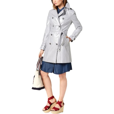 Tommy Hilfiger Womens Trench Coat Coated Striped - L