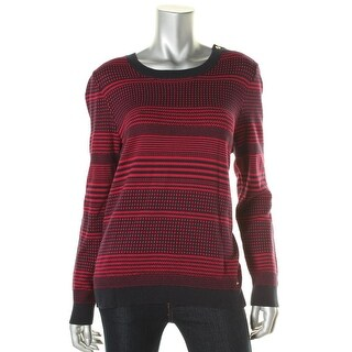 Tommy Hilfiger Womens Pattern Crew Neck Pullover Sweater