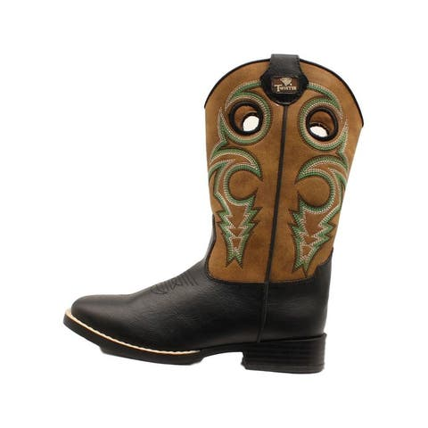 Twister Western Boots Boys Colton Toe Bug Brown Black - Brown Black