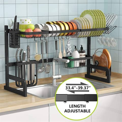 1Easylife Over the Sink Dish Drying Rack, Length Adjustable