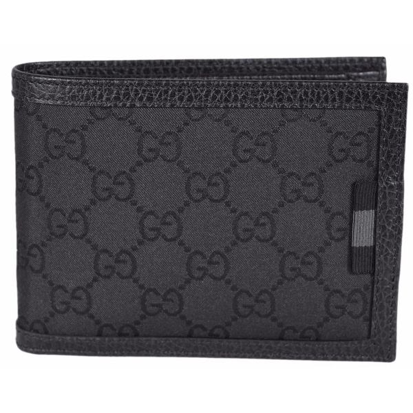 Gucci 217044 Men's Black Nylon GG Web Tab Trifold Passcase ID Wallet
