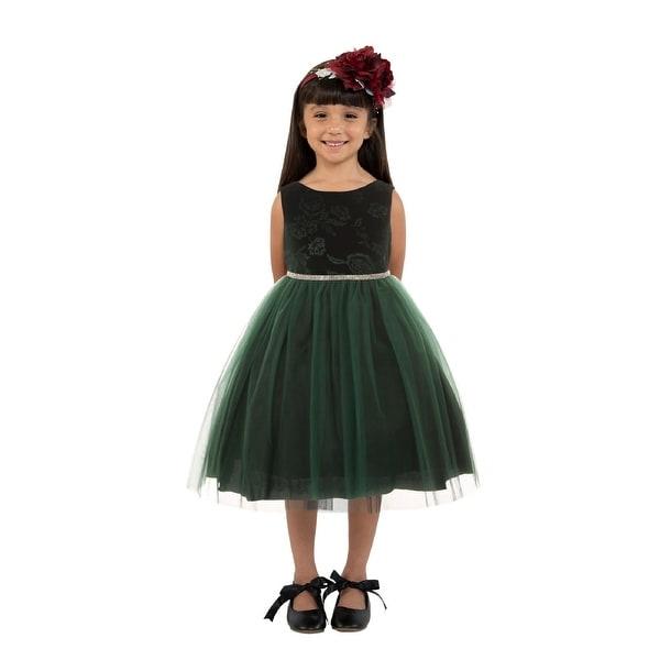 029c0dc245e9 Shop Kids Dream Girls Hunter Green Velvet Tulle Rhinestone Christmas ...