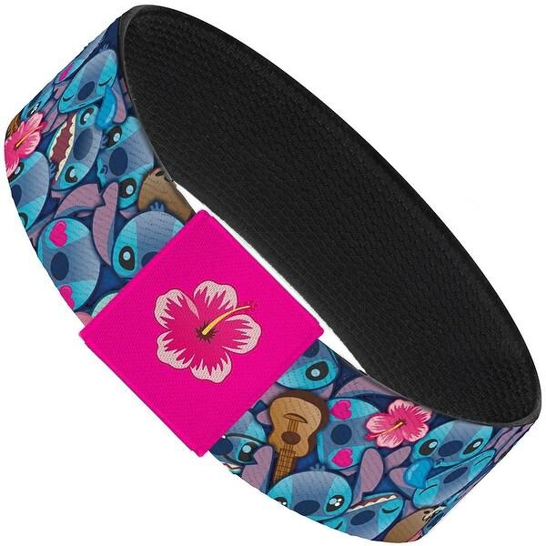 """Stitch Expressions Hibiscus Flower Ukulele Stacked Blues Elastic Bracelet 1.0"""" Wide"""