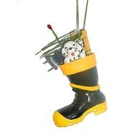 "4.75"" Black and Yellow Fireman Boot with Dalmatian Christmas Ornament"