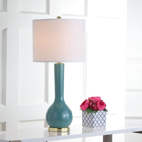 "SAFAVIEH Lighting 31-inch Mae Long Neck Ceramic Marine Blue Table Lamp (Set of 2) - 14""x14""x30.5"""