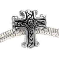 Silver Tone Two Sided Scrolled Cross - European Style Large Hole Bead (1)