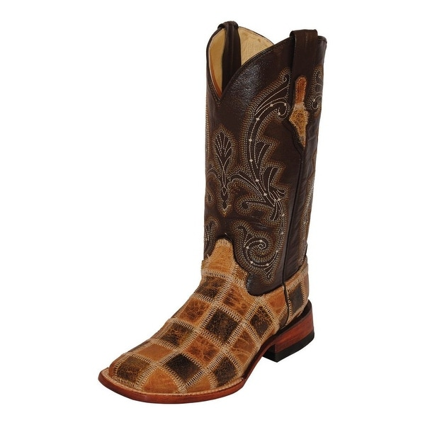 Ferrini Western Boots Womens Patchwork Square Toe Chocolate