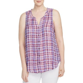 Lucky Brand Womens Plus Button-Down Top Linen Plaid