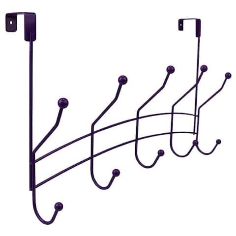 5 Hook Over the Door Hanging Rack, Purple