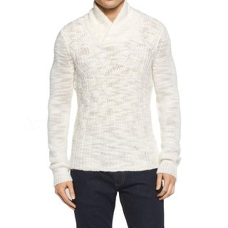 Calvin Klein NEW White Ivory Men Large L Cable Shawl Collar Sweater