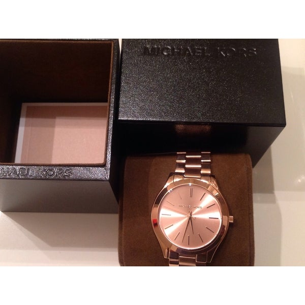 51e41089ce03 Shop Michael Kors Women s MK3197  Slim Runway  Rose Goldtone Watch - Free  Shipping Today - Overstock - 8561378