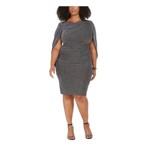 BETSY & ADAM Silver Short Sleeve Knee Length Sheath Dress Size 20W