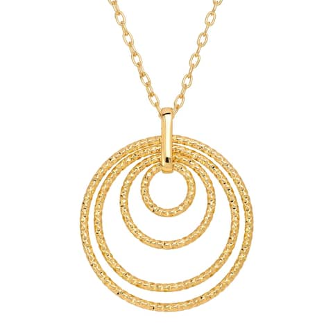 """Four Halo Circle Pendant in 18K Gold-Plated Bronze, 18"""" - Yellow"""