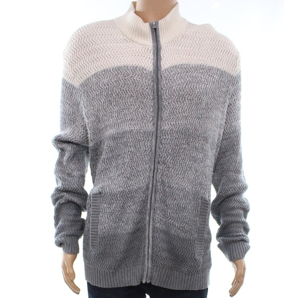 Alfani Gray White Mens Size Small S Full Zip Ombre Textured Sweater