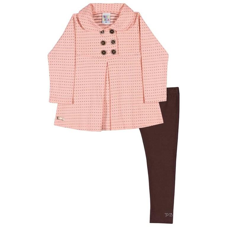 Toddler Girl Outfit Pea Coat Jacket and Leggings Set Pulla Bulla 1-3 Years - Thumbnail 0