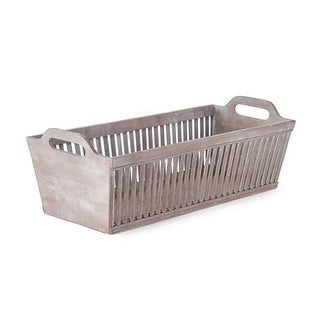"""26.5"""" Bassinet Style Rectangular Gray Distressed Bamboo Decorative Baskets with Handles"""