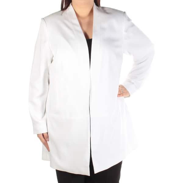 CALVIN KLEIN Womens White Suit Wear To Work Jacket Plus Size: 16W